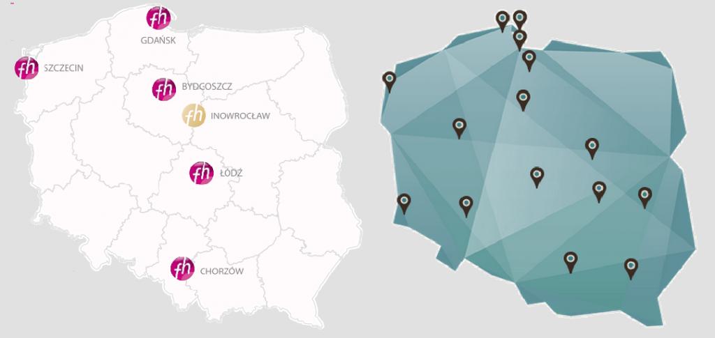 Lokalizacja hoteli sieci Focus (mapa po lewej) oraz hoteli sieci WAM (po prawej)