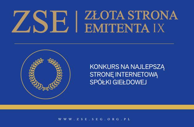 Nasza strona internetowa w II etapie konkursu Złota Strona Emitenta