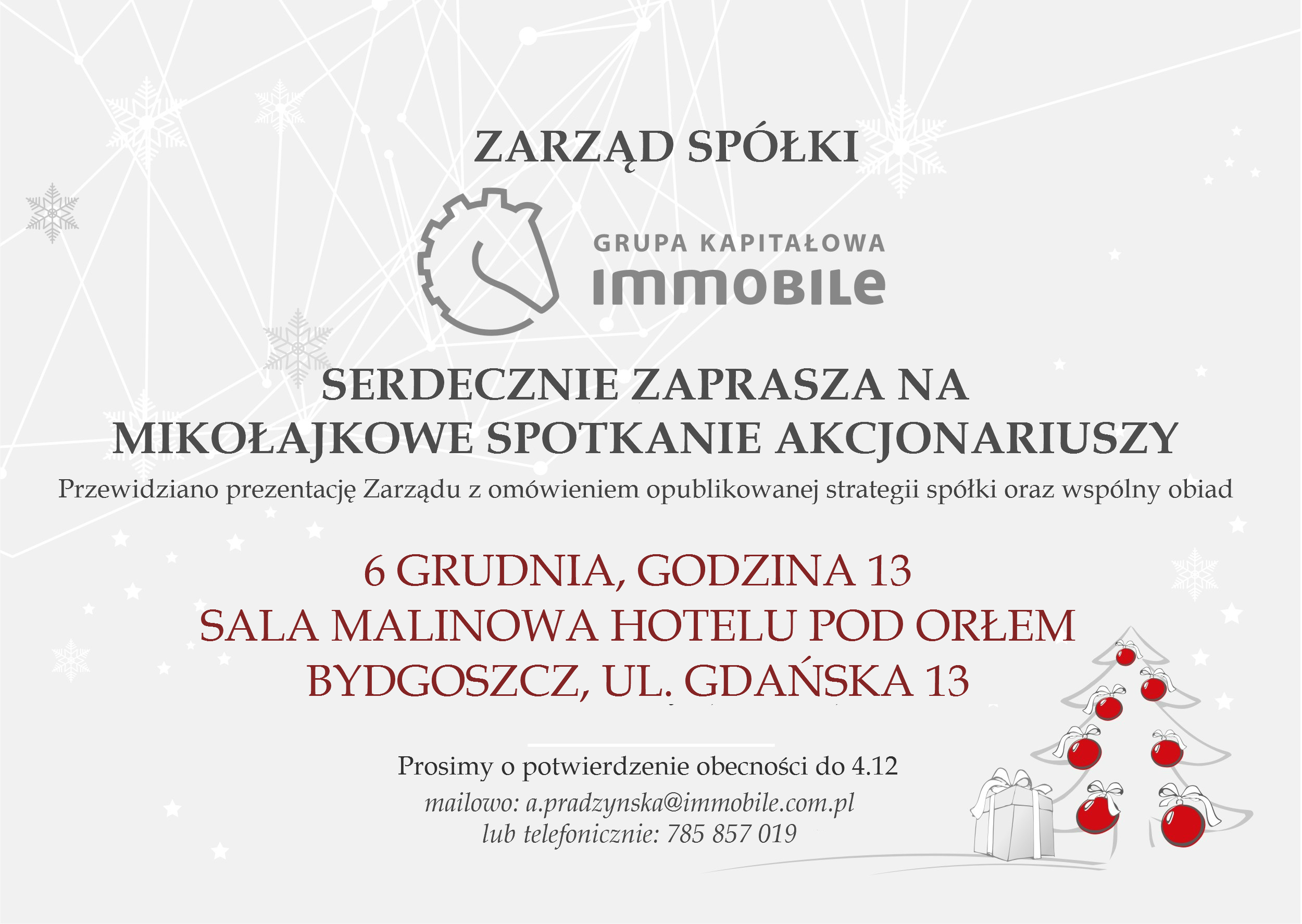Zapraszamy na Mikołajkowe Spotkanie z GK IMMOBILE w Bydgoszczy