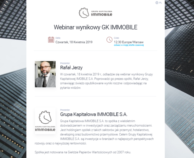Join the webinar '2018 results of GK IMMOBILE with the